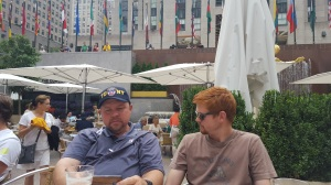 Darren and Jake relaxing at Rockefeller Plaza.